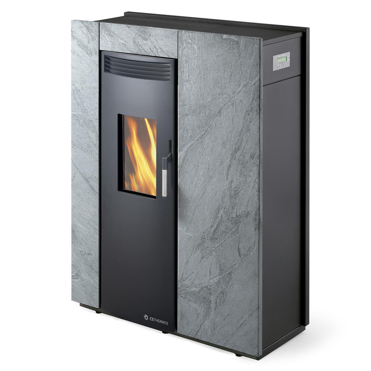 Tipologia: Stufa; Combustibile: Pellet, Pellet/Biomassa; Rivestimento:  Metallo, Pietra; Potenza: 3 ÷ 10 KW; Volume Riscaldabile: 86 ÷ 280 M³ ...